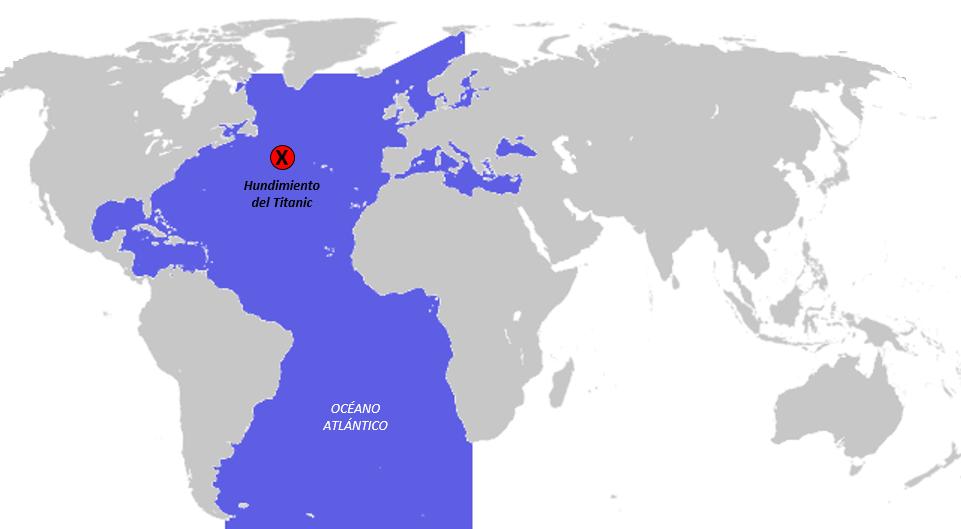 Océano en el que se hundió el Titanic